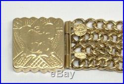 14k Yellow Gold Wide Chain Bracelet Monogrammed #103630-1d