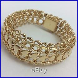 14k Yellow Gold Wide Charm Bracelet