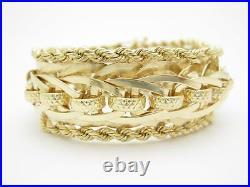 14k Yellow Gold Wide Design Rope Link Vintage Estate Charm Bracelet 42.0 Grams