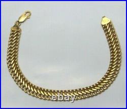 14k Yellow Gold Wide Flat Wheat Link Bracelet Wide Mesh 7 5.2g
