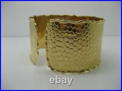 14k Yellow Gold Wide Hand Crafted Cuff