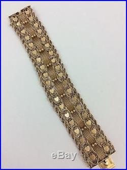 14k Yellow Gold Wide Heart Charm Bracelet