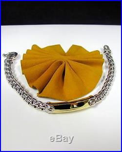 14k Yellow White Gold Bar Link Tag Wide Men's Bracelet Two Tone 7'