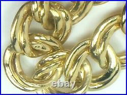 14k yellow gold 11mm wide double link charm bracelet. 7 1/8.9.0gm