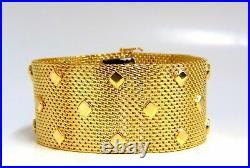 14kt. Gold Wide Mesh Spade Onlay Bracelet Cuff 80 Gram