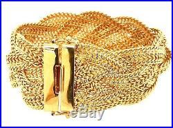 14kt Yellow Gold Estate Designer Milor Italian Stunning Wide Bracelet 34 Grams