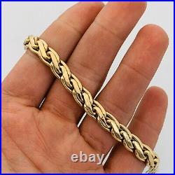 14kt Yellow Gold Ladies Wide 7.5mm Fancy Link Bracelet Italy 7.5
