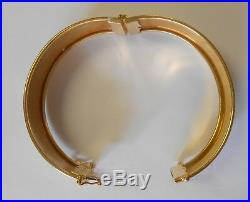 16mm Wide 18K Yellow Gold Hinged Bangle Bracelet Double Safety Clasp 29 Grams 7