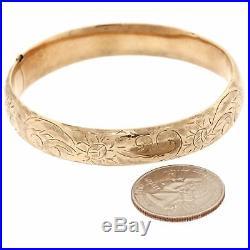 1880s Antique Victorian 14k Rose Gold 12mm Wide Bangle Floral Etched Bracelet