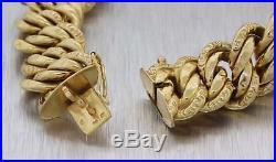 1880s Antique Victorian Estate 18k Yellow Gold 15mm Wide Charm Bracelet E8