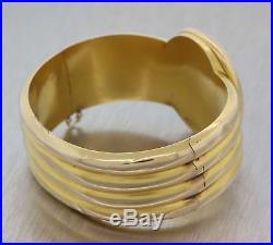 1880s Antique Victorian Russian Tsar 14k Gold Locket Wide Bangle Bracelet E8
