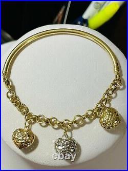 18K Fine 750 Saudi Gold Heart Charm Women's Bracelet 7-7.5 Long 9.1g 3.2mm Wide