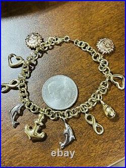 18K Fine 750 Saudi Gold Heart Charm Women's Bracelet 7 Long 11.52g 5mm Wide
