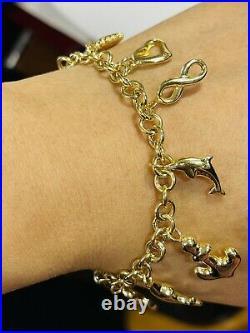 18K Fine 750 Saudi Gold Heart Charm Women's Bracelet 7 Long 11.5g 5mm Wide