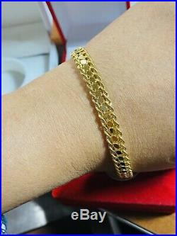 18K Fine 750 Saudi Gold Real Women's Rope Bracelet 7.5Long USA Seller 7mm Wide