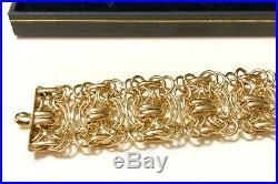 18K Gold Over Sterling Silver 925 OT Turkey Wide Link Chain Bold Bracelet 7.5