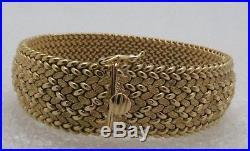 18K Gold Weave Bracelet Estate/Vintage Wide Mesh Snake Pattern withOpen Box Clasp