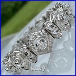 18K White Gold Diamond Wide Strap Graduated Mechanistic Vintage Bracelet 1930s