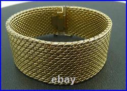 18K Yellow Gold Mesh Bracelet Wide Cuff Designer Thick Heavy Hallmark 0750