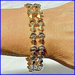 18K Yellow Gold Tank Track Link Wide Bracelet Signed FOAC Italy Vintage Mid-Cent