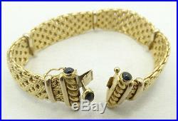 18K Yellow Gold Wide Woven Garnet Cabochon Bracelet 7.75 33.2g A4460