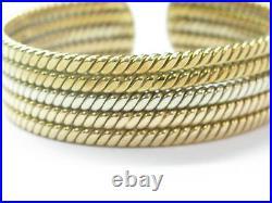 18Kt Tri Color Solid Gold & NATURAL Diamond Cuff Bracelet. 85CT 19.6mm WIDE