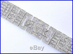 18Kt WIDE Pave Diamond Milgrain White Gold Tennis Bracelet 426-Stones 5.00Ct