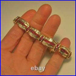 18 Ct Baguette Red Ruby & Diamond 7.5 Tennis Wide Bracelet 14K Yellow Gold Over