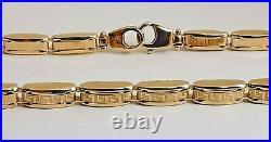 18ct 750 yellow GOLD GREEK KEY BRACELET 8.25 4mm wide fancy panel hinge links