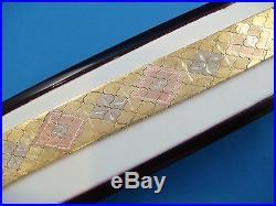 18k 3 Color Heavy Wide Bracelet 48.4 Grams 18 MM Wide Handmade In Italy