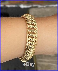 18k Gold 10mm Wide Fancy Stampato Link Bracelet 7.25 17.6 Grams