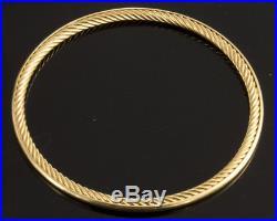 18k Gold David Yurman Women's Cable Classic Bangle 3mm Wide Bracelet