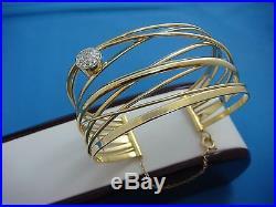 18k Gold Heavy 44.9 Grams Handmade Wide Cuff Bangle Bracelet 1.5 Inch Wide
