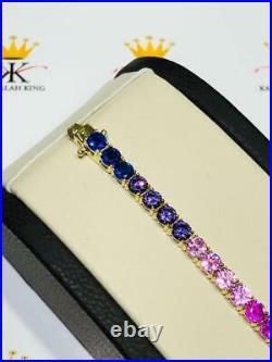 18k Gold Sterling Silver Rainbow Sapphire 4mm Wide Round Cut Tennis Bracelet