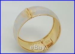 18k Two-Tone Gold Greek Key Design 25MM Wide Hinged Bangle Bracelet