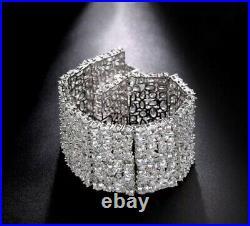 18k White Gold Wide Bracelet with Swarovski Diamond Stone Designer Inspired 7.5