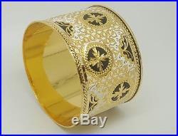 18k Yellow Gold 40MM Wide Bangle Persian Indian Arabic Women