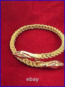 18k Yellow Gold 5.6mm Wide Twisted Mesh Wire Bracelet Snake Head