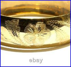 18k yellow gold fancy wide design bangle bracelet 28.8g estate 7 womens