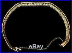 18kt Fancy Yellow Solid Gold Cleopatra Bracelet 7 3/8 Long 5/8 Wide 36.82 Gram
