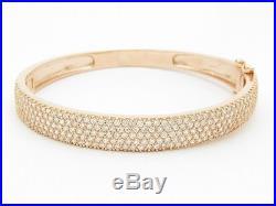 18kt Gold Sterling Silver Diamond Set Pave White Sapphire Wide Bangle Bracelet