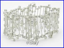 18kt Solid White Gold Genuine White Diamond 9.26ct Wide Unique Tennis Bracelet