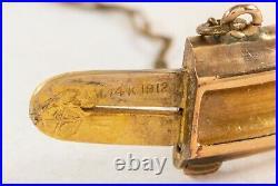 1912 Antique Diamond 14K Gold Wide Bangle Bracelet
