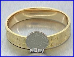 1919 Antique Victorian Style Blitzer 14k Solid Yellow Gold Wide Bangle Bracelet