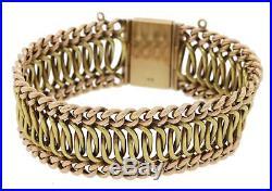 1930s Antique Victorian 14k Rose Green Gold 24mm Wide Fancy Chain Link Bracelet