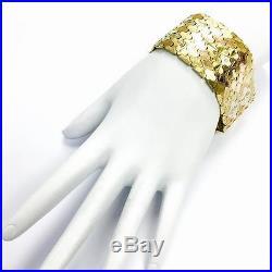 1940s Tricolor 18K Gold Curved Link Wide Bracelet
