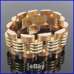 1950s Retro 14K Rose & Yellow Gold Heavy Link Wide Geometric Bracelet