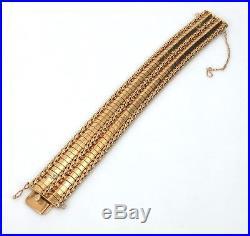 1950s Retro European 18K Rose Gold Geometric Wide Design Bracelet