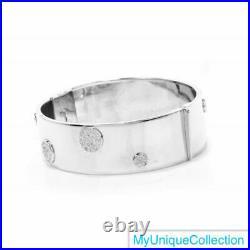 1.08ct Diamond Italian 14K White Gold Wide Bangle Bracelet 43.2 Grams