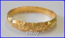 21K Yellow Gold Bangle Bracelet Middle Eastern Ornate Carved Design 10 mm Wide